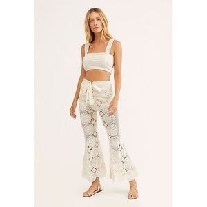 NWT Free People Dragonfly Crochet Flare Pants L